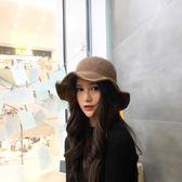 秋冬季羊毛呢帽子女士圓頂英倫漁夫帽捲邊毛線盆帽韓版保暖針織帽  晴光小語