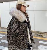 豹紋棉服女冬季中長款新款加厚工裝派克外套收腰羽絨棉