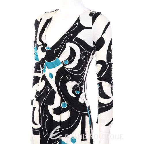 NINA 白/藍色圖騰V領長袖洋裝 0940040-37