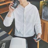 黑五好物節   春夏2018新款修身男士襯衣韓版潮流帥氣長袖襯衫休閒簡約衣服   mandyc衣間