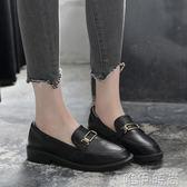 牛津鞋 新款原宿一腳蹬小皮鞋女學生韓版百搭單鞋中跟英倫風樂福鞋女 唯伊時尚
