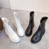 短靴 透氣馬丁靴女英倫風春夏季粗跟瘦瘦靴百搭中筒白色短靴薄款ins潮 中秋節