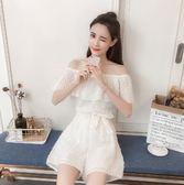 $299出清專區 韓國風時尚小心機顯瘦一字露肩高腰連身短褲套裝短袖褲裝