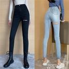復古彈力緊身破洞牛仔褲女春季顯瘦高腰小腳褲子修身休閒直筒長褲 夏季新品