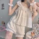 睡衣女夏季可愛蕾絲吊帶家居服套裝兩件套【...