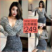 克妹Ke-Mei【AT49845】chic韓國名媛狂野性感深V豹紋植絨修身蕾絲上衣