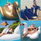 水上充氣金天鵝白天鵝黑天鵝小白鵝浮排浮床成人充氣坐騎戲水玩具 MKS卡洛琳