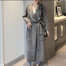 針織外套開衫長版衣大翻領寬鬆超長款混色系腰帶毛衣外套3F141.6066依品國際