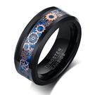 《 QBOX 》FASHION 飾品【RTCR-092】精緻個性潮流齒輪圖案設計拋光鎢鋼戒指/戒環