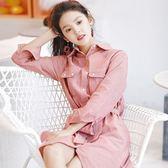 連身裙-條紋韓版時尚中長版長袖女連衣裙2色73rx4【巴黎精品】