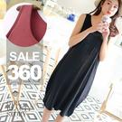 SISI【D8043】隨性百搭寬鬆拼接純色修身顯瘦莫代爾棉無袖中長款背心T連身裙