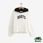 女裝ROOTS- 撞色毛圈布短版連帽上衣-白色