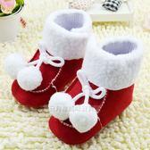 雪靴系列紅色鋪毛雙球軟底學步鞋學步襪學走鞋學走襪日月星媽咪寶貝館