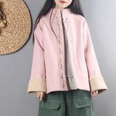中國風復古文藝毛呢外套女秋冬裝短款民族風上衣刺繡森系呢子大衣「爆米花」