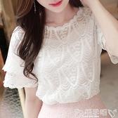蕾絲打底衫很仙的上衣大碼雪紡衫女夏短袖寬鬆女裝t恤小心機洋氣蕾絲打底衫 嬡孕哺
