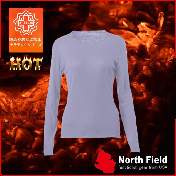 【North Field美國 女 圓領遠外線內衣《鈦灰》】保暖衣/發熱衣/膠原蛋白/吸濕排汗/親膚/第二層肌膚