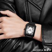 骷髏手錶男士青少年方形中學生嘻哈防水歐美時尚款2018新款街頭潮 莫妮卡小屋