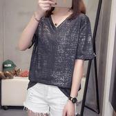 促銷款不退換中大尺碼L-4XL短袖衫休閒上衣新款大碼短袖T恤女胖妹妹寬鬆半袖上衣R26-8992