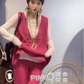 針織馬甲女外穿毛衣背心時尚韓版V領寬鬆套頭馬甲坎肩2020新款  (pink Q 時尚女裝)