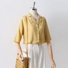 棉麻上衣 短袖女上衣夏新款簡約西裝領棉麻襯衫韓版寬鬆顯瘦姜黃色襯衣涼感