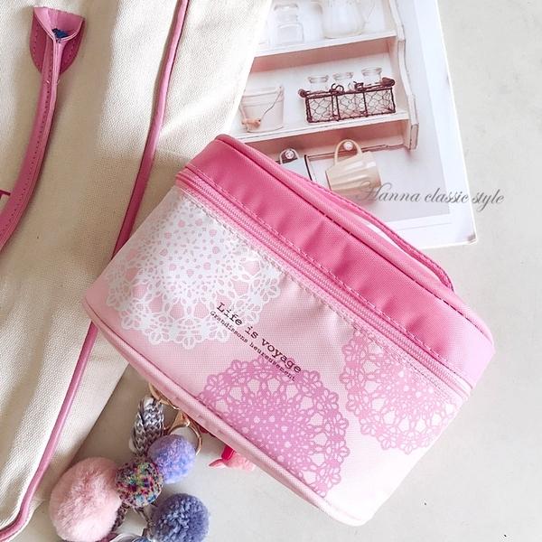 《花花創意会社》外流。和風蕾絲花粉嫩手提化粧包【H6594】