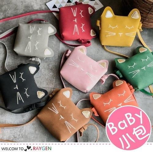 女童韓版迷你刺繡貓咪造型包 斜肩包