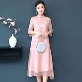 2021夏季新款茶服连衣裙文艺复古中国风手绘宽松中长款改良旗袍裙 茱莉亞