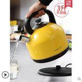 電熱燒水壺304不銹鋼大容量家用快壺自動斷電煮茶壺燒水器igo220V 貝兒鞋櫃