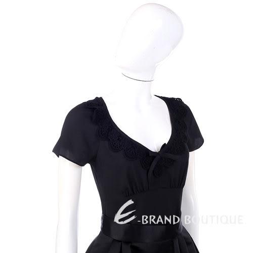 PHILOSOPHY 黑色異材質針織花邊飾短袖上衣 1230441-01