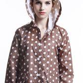 戶外游 時尚波點雨衣 韓國旅游輕薄防水透氣女士長款雨披