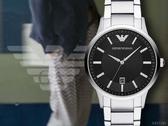 【時間道】EMPORIO ARMANI亞曼尼 經典簡約鋼帶腕錶/黑面白鋼(AR11181)免運費