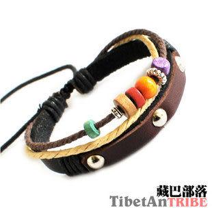 藏銀桃木繩編手鏈