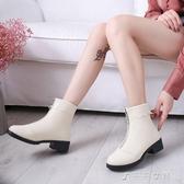 秋冬季韓版馬丁靴女平底前拉鏈粗跟短靴女靴帥氣百搭顯瘦機車靴女 千千女鞋