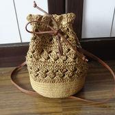 水桶包 太陽的後裔喬妹最愛水桶包 編織包包沙灘女包草編包包鉤針鏤空包 夢藝家