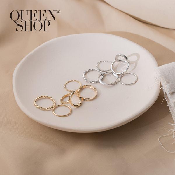 Queen Shop【07060133】簡約不規則圓圈戒指五件套組 兩色售*現+預*