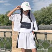 新款女韓版運動休閒套字母印花短袖連帽上衣短褲學生  朵拉朵衣櫥