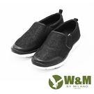 W&M MODARE系列 拼色異材質直套式休閒鞋 女鞋-黑(另有銀、藍)
