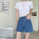 網紅藍色牛仔褲女夏季高腰寬鬆寬管褲復古短褲顯瘦百搭褲子ins潮 韓美e站