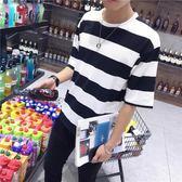 夏季男士短袖t恤男韓版韓版潮流寬鬆七分袖體恤男生7分條紋T上衣 【好康八五折】