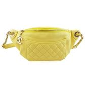 【奢華時尚】CHANEL黃色菱格紋羊皮銀鍊胸口包腰包(九五成新)#24491