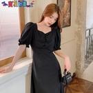 短袖洋裝 大碼女裝早春胖mm黑色連身裙子收腰顯瘦設計感2021年新款夏季法式 新品新品