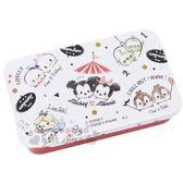 〔小禮堂〕迪士尼 TSUMTSUM 造型貼紙附鐵盒《白.大臉》裝飾貼.黏貼用品 4991277-07462