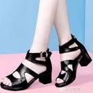 涼鞋女新款夏季羅馬魚嘴女士粗跟黑色高跟鞋厚底百搭中跟女鞋 檸檬衣舍