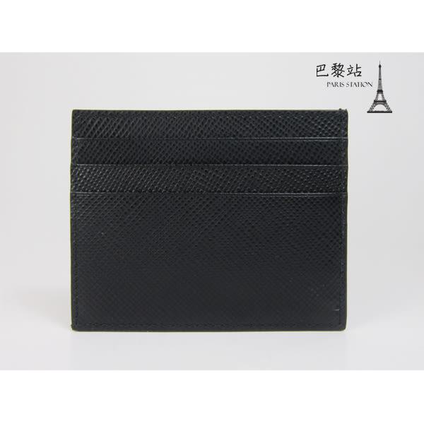 【巴黎站二手名牌專賣店】*全新現貨*PRADA 真品*PRADA字樣壓紋黑色名片夾 信用卡夾