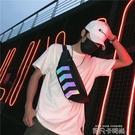 胸包男ins超火街頭單肩包嘻哈腰包女個性學生反光斜挎小背包 依凡卡時尚