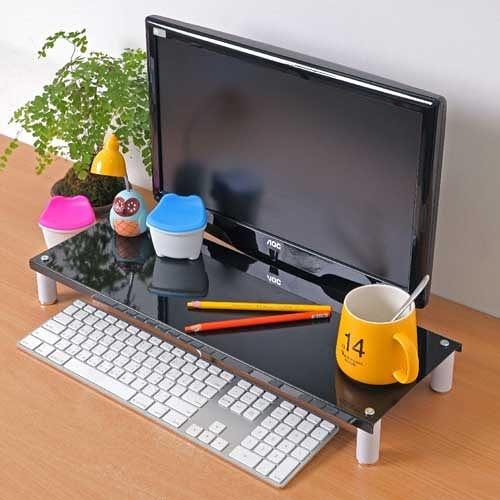 【方陣收納】高質烤漆金屬桌上螢幕架/鍵盤架RET-125(黑色1入)