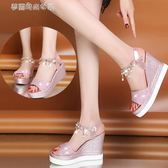 鬆糕涼鞋 波西米亞夏季韓版高跟鬆糕跟魚嘴坡跟涼鞋女夏厚底防水臺 夢露時尚女裝