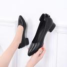 黑色工作鞋女粗跟正裝酒店職業鞋軟底百搭面試單鞋女尖頭上班鞋