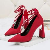 尖頭鞋 綁帶高跟鞋 性感舒適粗跟鞋 系帶蝴蝶結鞋《小師妹》sm1414