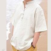 短袖襯衫-自信焦點透氣亞麻男上衣3色6v5【巴黎精品】